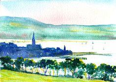 Overlooking Largs to Cumbrae sunset by Scottish artist David Tyrrell   | eBay