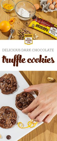 Delicious dark chocolate cookies meet velvety truffle richness in this mouthwatering dessert. With hints of pistachio, orange zest and sea salt plus NESTLÉ® TOLL HOUSE® Dark Chocolate Morsels, these Dark Chocolate Truffle Cookies make a delightful holiday Cookie Desserts, Just Desserts, Cookie Recipes, Delicious Desserts, Dessert Recipes, Yummy Food, Cookie Cups, Yummy Cookies, Yummy Treats