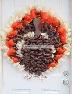 Thanksgiving Mesh Turkey Wreath
