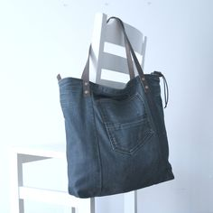recycled jeans bag with leather handles - dark blue bag - tote - shopping bag- shoulder bag by Lowieke on Etsy