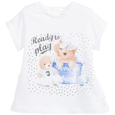 Mayoral Baby Girls White & Blue Puppy Print Tunic Top at Childrensalon.com