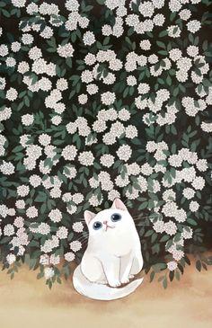 Animal illustration -- white cat with flowers Kawaii Wallpaper, Cat Wallpaper, Wallpaper Backgrounds, Art And Illustration, Illustrations, Cat Drawing, Crazy Cats, Cat Art, Cute Cats
