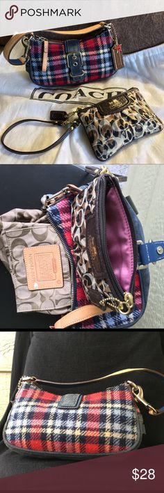 """💠COACH BUNDLE💠TWO MINI BAGS & DUSTBAG💠 💠COACH BUNDLE💠TWO MINI BAGS & DUSTBAG💠 AUTH MINI 100 YEARS IN THE HAMPTONS. PLAID WOOL AND LEATHER WITH TAG AND SILVER CHARM. INSIDE ZIP , TOP ZIP AND STRAP SNAP CLOSURE. WEAR ON THE CORNERS IN VGUC: 9""""x5""""x4"""" WITH 4""""DROP FROM CONVERTIBLE TWO TONE STRAP. BROWN SATIN MONOGRAMMED WRISTLET- NO SERIAL NUMBER PROMOTIONAL ZIP BAG. EXC CONDITION: 6""""x4"""" WITH 12"""" CONVERTIBLE STRAP. Coach Bags Mini Bags"""