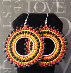 Beadwork Earrings  Night Fire Multicolored Bohemian by WorkofHeart, $34.00