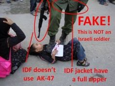 """""""Photo of 'IDF soldier' pointing gun at girl prompts Facebook outcry."""" By Haaretz from Haaretz -- This is a good example of how bad information about Israel can spread quickly."""