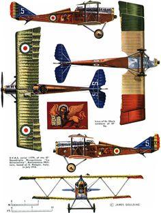 """Ansaldo SVA.5 Unit: 87 Squadriglia Ricognizione """"La Serenissima"""", Aeronautica Militare Serial: 5 (11779) San Pelagio, July 1918.""""Pilot - ten..."""