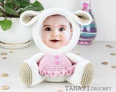 Crochet Pattern of Photo Frame LAMB (Tutorial PDF file)