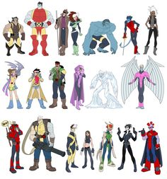 Terrific distillation of years of X-Men uniforms into a single set of iconic Disney-fied character illustrations by  Matthew Humphreys.