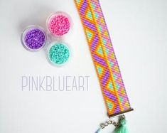 Bead Loom Bracelet - Loom beaded - Model: - Easter Gifts by PinkBlueArtUK on Etsy Loom Bracelet Patterns, Bead Loom Bracelets, Bead Loom Patterns, Mother Christmas Gifts, Mother Gifts, Gifts For Girls, Girl Gifts, O Beads, Seed Beads