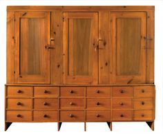 : Rare Triple Herb Cupboard Over Drawers Estimate: $7,000 – $12,000 Pine and tulip wood, three inset panel doors opening right to left, over...