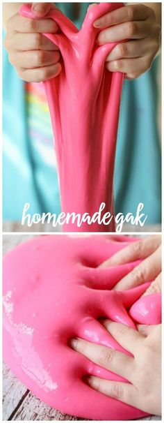 Homemade Gak! This is the cheapest and best kid entertainment ever!! Supplies needed include - glue, borax, water, and food coloring!