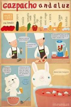 An illustrated recipe Pan y Peter: Gazpacho Andaluz Spanish Classroom Activities, Spanish Teaching Resources, Spanish Language Learning, Spanish Lessons, Comida Diy, Spanish Food, How To Speak Spanish, Food Illustrations, Kids Meals