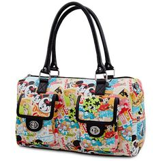 Accessorize your fun look with a collage of timeless art, logos and icons of Walt Disney's classic animated characters and theme parks on our fine fashion purse direct from Disneyland and Walt Disney World Resorts.