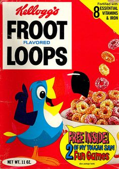 I think I'm feeling nostalgic. What was your absolute favorite cereal? You can also list all your favorites, but what was the number one? Mine was Vintage Food Labels, Vintage Ads, Vintage Stuff, Vintage Prints, Retro Recipes, Vintage Recipes, 1970s Candy, Fruit Loops Cereal, Toy Net