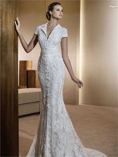 Glamorous Sheath/Column Short Sleeves Sweep Train Lace Tulle Wedding Dress WD2175 www.tidedresses.co.uk $369.0000