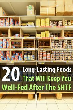20 Long-Lasting Foods That Will Keep You Well-Fed After SHTF If you haven't already stocked up on survival food, you should get started. There are plenty of long-lasting foods that you can find in any grocery store. Emergency Food Storage, Emergency Preparedness Kit, Emergency Preparation, Survival Prepping, Survival Skills, Survival Gear, Survival Hacks, Survival Stuff, Survival Quotes