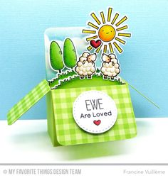 Handmade treat boxes from Francine Vuilleme featuring Birdie Browns Ewe Are the Best #mftstamps
