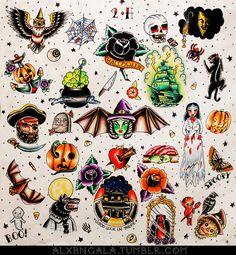 """Halloween tattoo flash 2"" by:Alejandra L Manriquez."