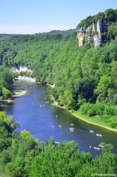 Summer canoeing down the river Dordogne