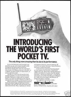 Sinclair Worlds Pocket TV Television Funny Vintage Ads, Vintage Tv, Vintage Cameras, Vintage Advertisements, Color Television, Vintage Television, Lidl, Portable Tv, Vintage Appliances