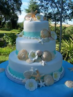 beach theme wedding cake cakecentral wedding cake Beach Wedding Cake With Flowers Beach Themed Cakes, Beach Cakes, Fondant Wedding Cakes, Cake Fondant, Cake Wedding, Wedding Ceremony, Beach Wedding Favors, Seashell Wedding Cakes, Beach Weddings