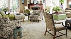 Living Room -Quadrille Alan Campbell Arbre De Matisse Reverse Brown on Tint