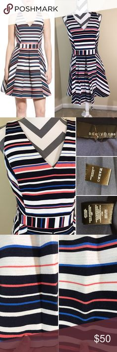 "❄️HP 1/9! Adelyn Rae Treena Striped Dress NWOT --  Treena V neck Striped Jacquared Fit-n-Flare Dress by Adelyn Rae --  Retails for $108 --  Size S, 36.5"" long, 17.5"" across Bust, 14.5"" waist laying down --  Material: 80% cotton, 20% polyester / lining - 100% polyester --  Description: hidden side zipper, cross cross straps, only flaw are safety pin marks towards bottom of dress as noted in 3rd picture Adelyn Rae Dresses Midi"