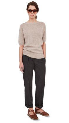 MARGARET HOWELL - ELBOW SLEEVE CREW NECK - COTTON CASHMERE TWIST - NATURAL - WOMEN