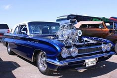 """1961 Buick Skylark. Blown SBC 388ci Don Hampton 8-71 blower, two holley 750DP's, th400 transmission with gear vendor overdrive, 4.11 rear gears in a 9"""" housing, 4 link rear suspension, 325/50/15 drag radials"""
