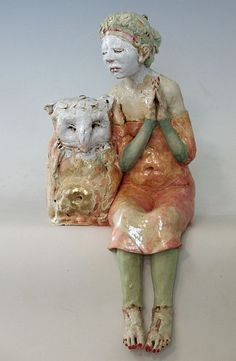 pink - woman with owl - Forgiveness and Devotion - figurative ceramic - porcelain - Cary Weigand Sculpture Art, Sculptures, Gothic Dolls, Ceramic Figures, Creative Thinking, Little People, Figurative Art, Sorting, Forgiveness