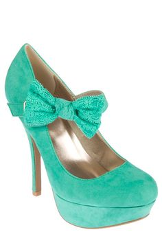 Sea Foam Green as they call it. Perfect, delicate, & look at that lace bow. To die for!