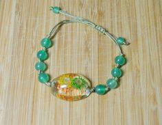 CLEARANCE Beaded Bracelet Green beads macrame, large flower focal bead Handmade Meditation Bracelet Fun bracelet beachy Sanibel, Florida