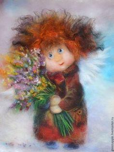 """Купить """"Ангел с букетом"""" - комбинированный, картина из шерсти, живопись шерстью, букет, букет цветов, ангел"""