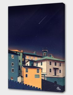 """Castles at Night"", Numbered Edition Canvas Print by Schwebewesen - From $69.00 - Curioos"