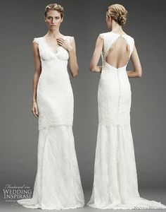 Nicole Miller wedding gown fall 2010 - beaded lace v-neck dress with lace trim, back view, lace trim and cutout-back with button detail