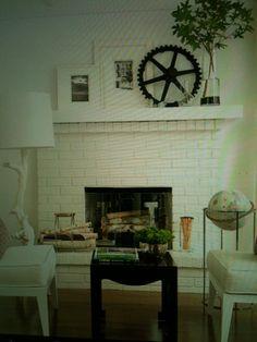 Painted brick fireplace