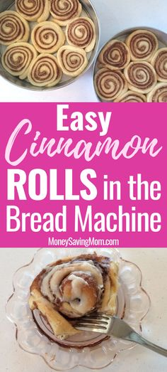 This Easy Bread Machine Cinnamon Roll Recipe is amazingly delicious and practically fail-proof! It's SO easy! This Easy Bread Machine Cinnamon Roll Recipe is amazingly delicious and practically fail-proof! It's SO easy! Bread Machine Cinnamon Rolls, Best Bread Machine, Bread Machine Rolls, Bread Rolls, Easy Desserts, Dessert Recipes, Dessert Bread, Delicious Desserts, Zojirushi Bread Machine