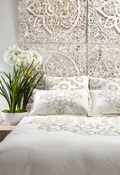 Bedroom Style Tip: Use multiples of our whitewashed & meticulously hand-carved Sanctuary Panels as a fresh spring twist on a headboard. Coastal Bedrooms, Moroccan Decor, Bedroom Styles, Home Decor Bedroom, Bedroom Ideas, Bedroom Inspiration, Bedroom Modern, Minimalist Bedroom, Style Inspiration