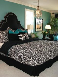 teal, black, white [My comforter is almost the exact same! LOVE this with the teal accents. Mine has red]