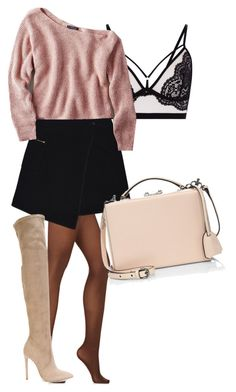 """Have a little pink"" by maize-xx on Polyvore featuring Wolford, MARC CAIN, Gianni Renzi, American Eagle Outfitters, Mark Cross, black, skirt and Sweater"