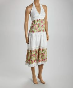 Look what I found on #zulily! White & Pink Floral Tiered Dress - Women by California Women #zulilyfinds  I so want this!