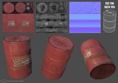 a barrel, simple as it can be I have a lot of stuff currently modeling/baking ect. So i wanred to do a quick speed texturing. Everything made in Speed Barrel 3d Cinema, 3ds Max Tutorials, Polygon Modeling, Game Textures, Game Props, Video Game Development, Oil Drum, Uv Mapping, 3d Tutorial
