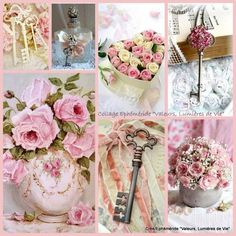 Pink roses & keys, mood/color collage  11960241_996261943757235_7248257691726047109_n.jpg (800×800)