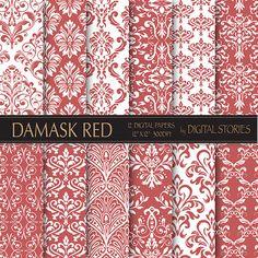 Damask Digital Paper DAMASK RED scrapbook by DigitalStories, €2.60