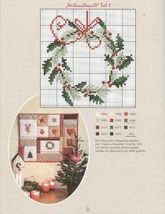 Christmas wreath, cross stitch chart
