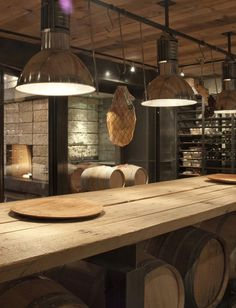 lighting, barrel storage in private room, steel shelves