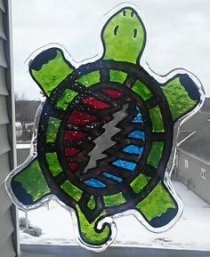 "Grateful Dead Terrapin Station Turtle - Faux Stained Glass. Size is 5"" x 7"" https://www.etsy.com/shop/TheSwedishWitch"