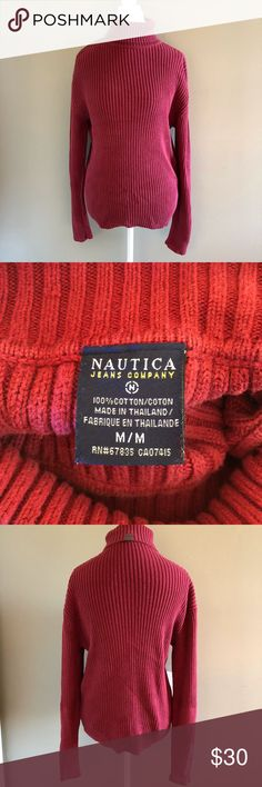 "Red Ribbed Nautica Turtleneck Super sweet and in amazing condition. Nice and warm for the winter! Style tip: Pair this with some wide leg jeans for a retro look. Bring back the 90s!  Measurements are taken flat and approximation: Chest: 20"" Shoulder: 20"" Sleeve: 25"" Length 25""  Please feel free to ask questions or make an offer! Nautica Sweaters Cowl & Turtlenecks"