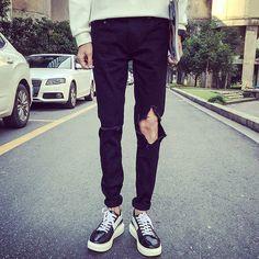 Fashion Korean Men Hole Long Pockets Black Skinny Denim Jeans