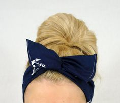 Anchor Navy Blue Dolly Bow Wire Headband by DollyLovesYou on Etsy : just ordered this! Can't wait to get it! How To Wear Headbands, Headbands For Women, Baby Headbands, Wire Headband, Navy Blue, Teal, Triangle Print, Big Bows, Boho Look